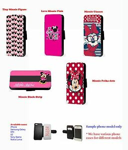 Minnie mouse pattern disney cute leather phone case for Huawei Samsung