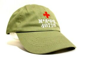 New MASH 4077th Army Olive Green Hat Cap Baseball M*A*S*H 4077 Embroidered Logo