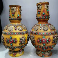 Collection Chinese Beeswax inlay gem Hand-made vase A pair