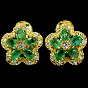 NATURAL AAA GREEN EMERALD OVAL & WHITE CZ STELRING 925 SILVER FLOWER EARRING