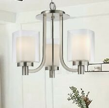 3 Light Double Square Glass Mini Chandelier Nickel Modern New Build Price small
