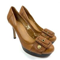 VINCE CAMUTO High Heel Shoes Stiletto Pumps Tan Brown Leather Women's Size 7.5