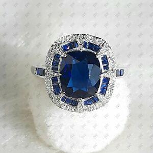 2 Ct Antique Cushion Cut Blue Sapphire Art Deco Engagement Ring In 925 Silver