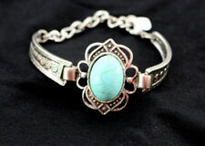 BOHO Wrap BRACELET 12-17cm Oval Simulated TURQUOISE Stone SILVER Tone Bangle