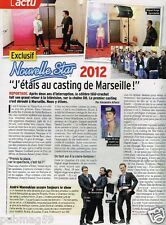 Coupure de Presse Clipping 2012 (1 page) Nouvelle Star Casting Marseille