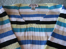 JONES NY STRIPED RIBBED  V- NECK LONG SLEEVE TOP SIZE M NW0T