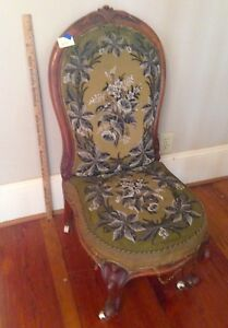 Antique  1800's  Victorian Beaded  Needlepoint  Slipper  Nursing  Chair