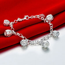 925 Sterling Silver Charm Round Bangle Women's Men Fashion Heart Bracelet DLH531