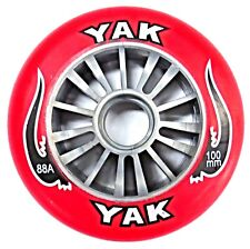 YAK Scooter Wheel -  Plastic Core - 100mm - 88A  -  SILVER / RED Razor Madd Gear