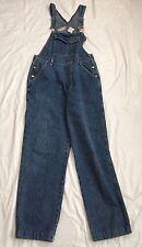 Bill Blass Overalls Bib Size Small Denim Blue Jean  Side Buttons EUC Hemmed