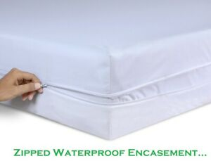QUALITY Waterproof Zipped Mattress Total Encasement Protector Cover DOUBLE SIZE