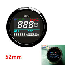 52mm Digital LCD Motorcycle Scooter GPS Speedometer Reverse Polarity Protection