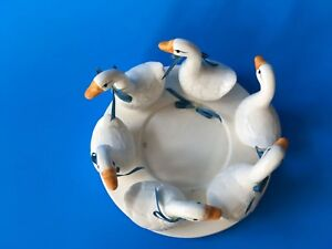 porcelain six geese in a circle candle holder small  holder