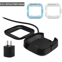 USB Charging Cable Cradle Dock + 2Pcs Cover Case + Wall Charger for Fitbit Versa