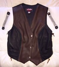 Ladies Leather Motorcycle Vest By Hillside USA