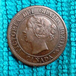 1859 Victoria Dei Gratia Regina Canadian One Cent Coin