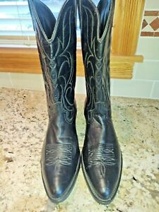 VGUC Tall Unbranded Black Leather Cowboy Work Boots - US Size 13 D (Mens)