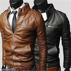 Men Fashion Zipper Slim PU Leather Bomber Coat Blazer Motorcycle Jacket Outwear
