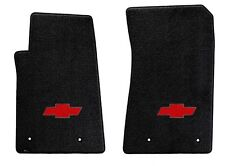 NEW! BLACK FLOOR MATS 1973-1983 Chevy Pickup Truck C10 K10 Red Embroidered Logo