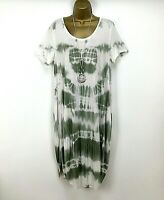 Italian Midi Dress Tie Dye Khaki Ladies Lagenlook Summer Holiday Size 12 14 16