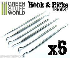 6x Herramientas para Modelar tipo Gancho - Buriles Sonda Dentales Dentista Hobby