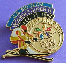 NAGANO 1998 Olympics US Ski Team PIN in BOX - Gold Medal - Women's Super G! New!