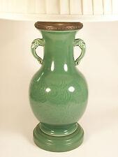 Longquan Style Celadon Glazed Ceramic Lamp - Japan - Late 20th Century
