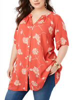 Roamans Ladies CORAL Floral Print Crinkle Angelina Tunic Blouse Shirt Top