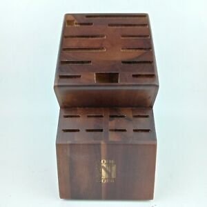 Cook N Home Wooden Knife Storage Block Acacia Wood 20 Slots Cutlery Organizer