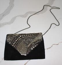 ECOTE Black Suede Clutch Evening Bag Satchel Beaded Purse Handbag