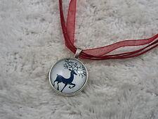 Silvertone Elk Deer Glass Pendant Red Voile Ribbon Necklace (C12)