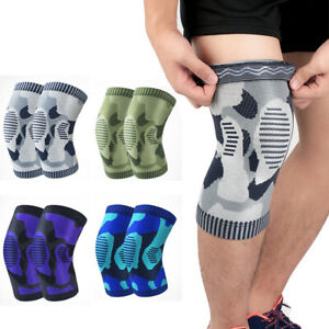 Elastic Compression Sports Knee Pads Camouflage Pattern Support Running Fitness