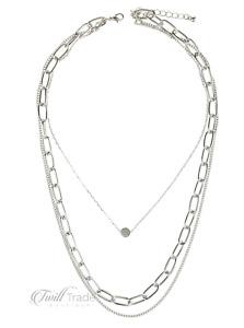Riah Fashion | Silver Layered Chain Necklace | NWT