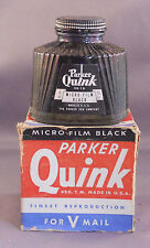 Parker Vintage Quink Ink-Micro-Film Black --NEW OLD STOCK--4oz--WWII