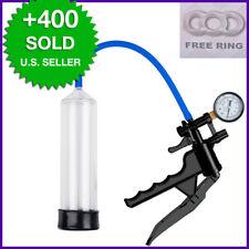 Plastic Pistol Penis Pump w/ Gauge QR Valve, Free Ring, Enlarger-Bigger-Vacuum
