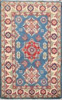 BLUE Hand-Knotted Super Kazak Oriental Area Rug Vegetable Dye Wool Carpet 2x3 ft
