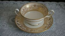 Vintage Wedgwood Gold Florentine Cream Soup Bowl and Saucer W4219, England