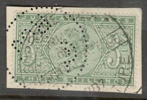 Queen Victoria - 3 Shilling Green - Judicature Fees - RCJ Perfins  - On Paper..
