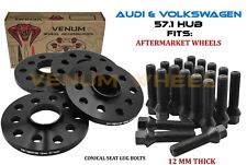 4PC 5x100/5x112 Audi A4 A8 Volkswagen GTI Jetta 12MM Wheel Spacers + Cone Bolts