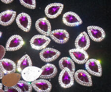 purple & clear sew On Jewel 18mm GEM CRYSTAL RHINESTONE trim Bead
