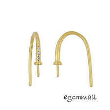 Gold Plated Sterling Silver CZ French Hook Earring Ear Wire w/ 2.5mm Cup #99541