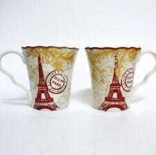 "222 Fifth PTS International Joyeux Noel Gold Scalloped 4 1/8"" Coffee Mugs Gray"