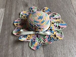 Vintage Handmade Crocheted Pin Cushion Hat Bonnet