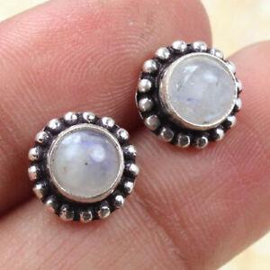 "Rainbow Moonstone 925 Silver Plated Handmade Gemstone Studd of 0.3"" Ethnic Gift"