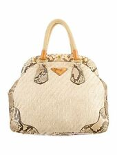 PRADA JUTA LAMINATA AND CINGHIALE HANDBAG.  SNAKESKIN AND LEATHER TRIM.