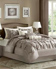 Madison Park 7 Piece QUEEN Comforter Set Laurel Pleated TAUPE J99018