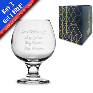 Personalised Engraved 390ml Brandy/Cognac Snifter Glass, Gift Boxed