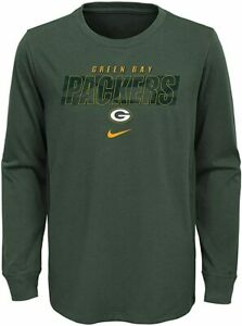 NWT Nike Boys Youth Green Bay Packers Cotton Long Sleeve T-Shirt Size Large