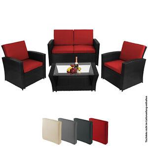 Polyrattan Sitzgruppe Lounge Balkon Terasse Garten Rattan Möbel Set Couch Tisch