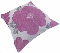 "FILLED POPPY PINK WHITE SILVER CHENILLE THICK CUSHION 18"" - 45CM"